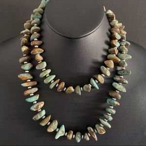 Jewelry - S.S.Green Turquoise Nuggets w NavajoPearlsNecklace